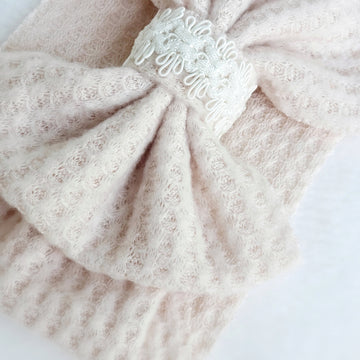 Soft Detailed Top Bow Headband Wrap in Blush Knit