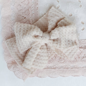 Soft Delicate Casual Tie Bow Head Band in Blush