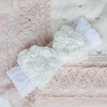 Prettiest White Rose Bouquet Baby Bow