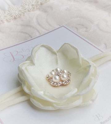 Beautiful Satin Flower with Diamond & Pearl Baby Headband in Ivory