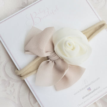 The Delicate Rose - in Ivory & Muted Blush Chiffon Baby Headband