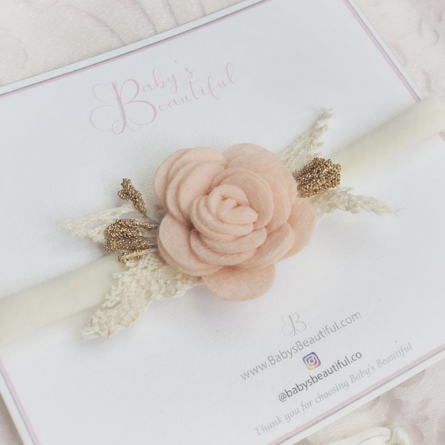 Beautiful Sweet Baby Felt Rose Headband