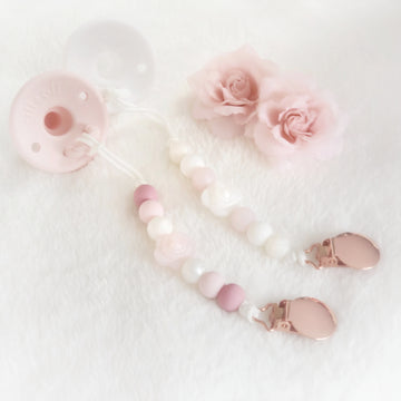 Aria Pearl Rose Pacifier Clips