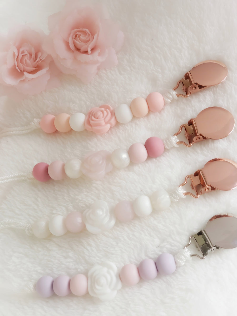 Aria Matte Rose Pacifier Clips
