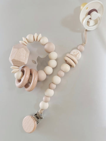 The Perfectly Neutral Rattle & Rattle Pacifier Clip Set
