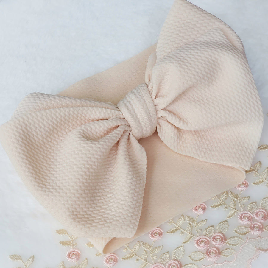 Oversized Knotted Bow Headwrap in Light Blush