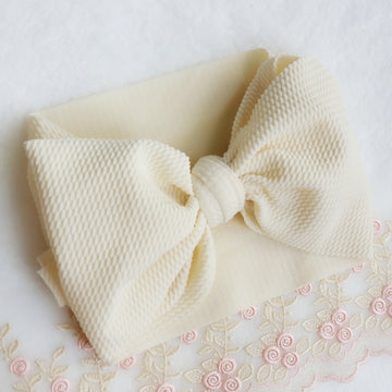 Oversized Knotted Bow Headwrap in Ivory Cream