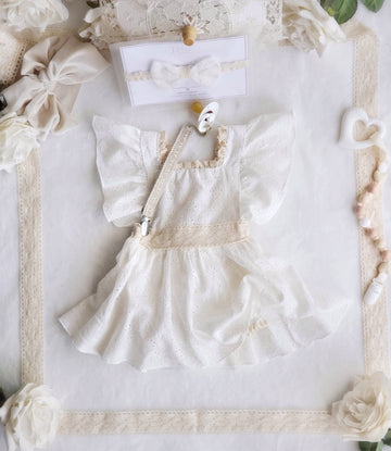 The Alice Dress - White Eyelet Cotton & Neutral Cotton Lace