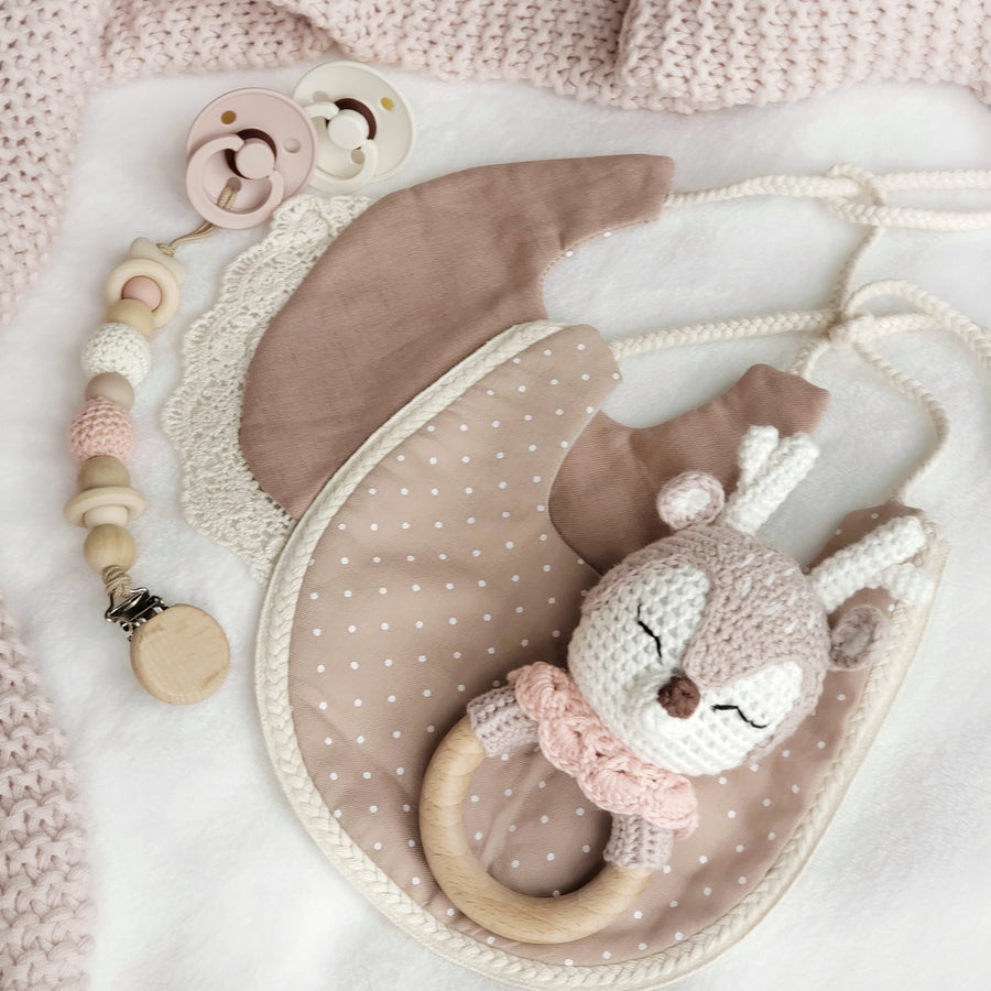 My Dear Little Fawn Beechwood & Cotton Crochet Play Ring