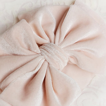 Soft Velvet Puff Bow Headwrap - Sweet Pale Pink