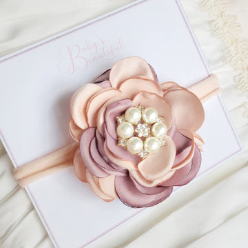 Stunning Rainbow Rose Baby Headband with Diamond & Pearl