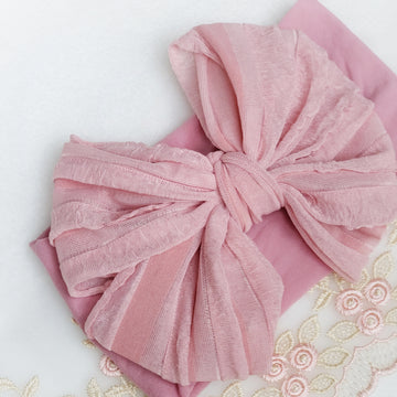 Pretty Messy-Puff Bow Headband in Dusty Rose