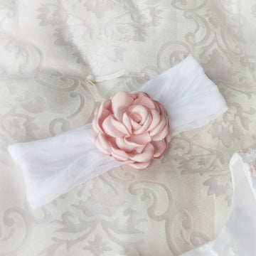 Beautiful Sweet Baby Rose on soft White Headband