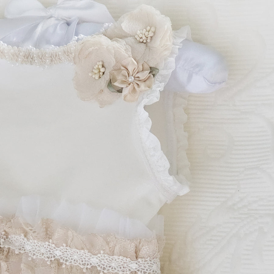 Velvet & Lace Leotard Flower Dress in Pearl & Light Fawn