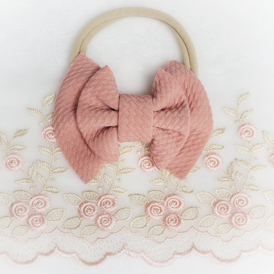 Mini Double Layer Bow Peachy-Pink Headband