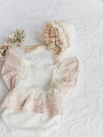 The Isabella Ivory & Rose Finely Knitted Romper & Bonnet Set
