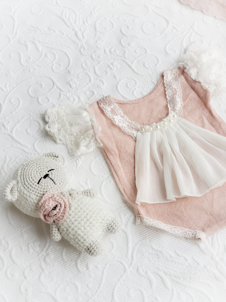 The Charlotte Rose Finely Knitted Romper & Bonnet Set