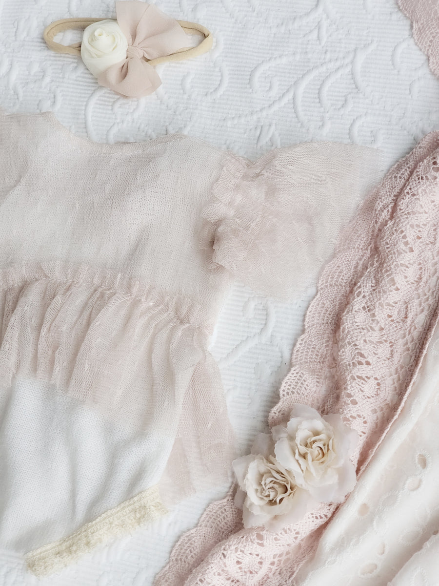 The Ava Ivory & Blush Finely Knitted Romper & Bonnet Set