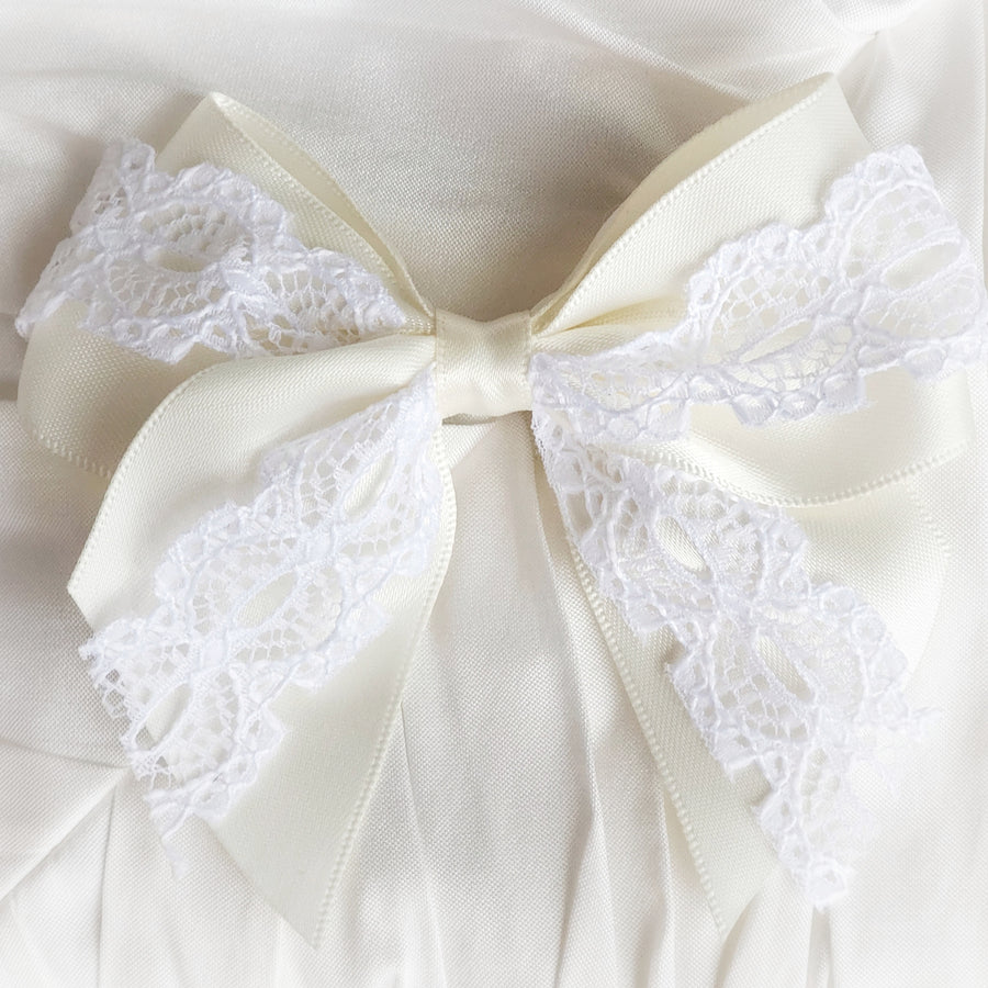 Vintage Inspired Satin and Lace Barrette - Ivory