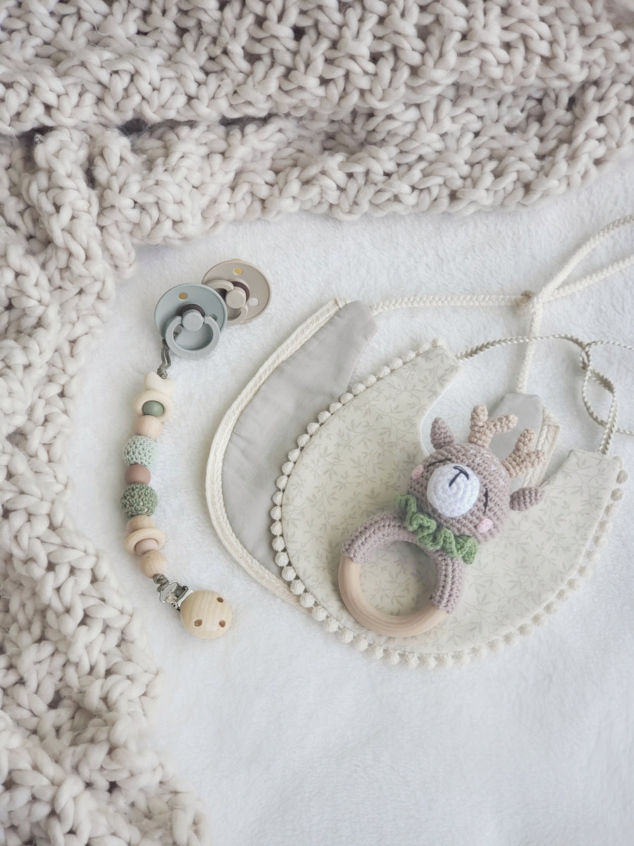 My Little Woodland Fawn Sensory Pacifier & Teether Clip
