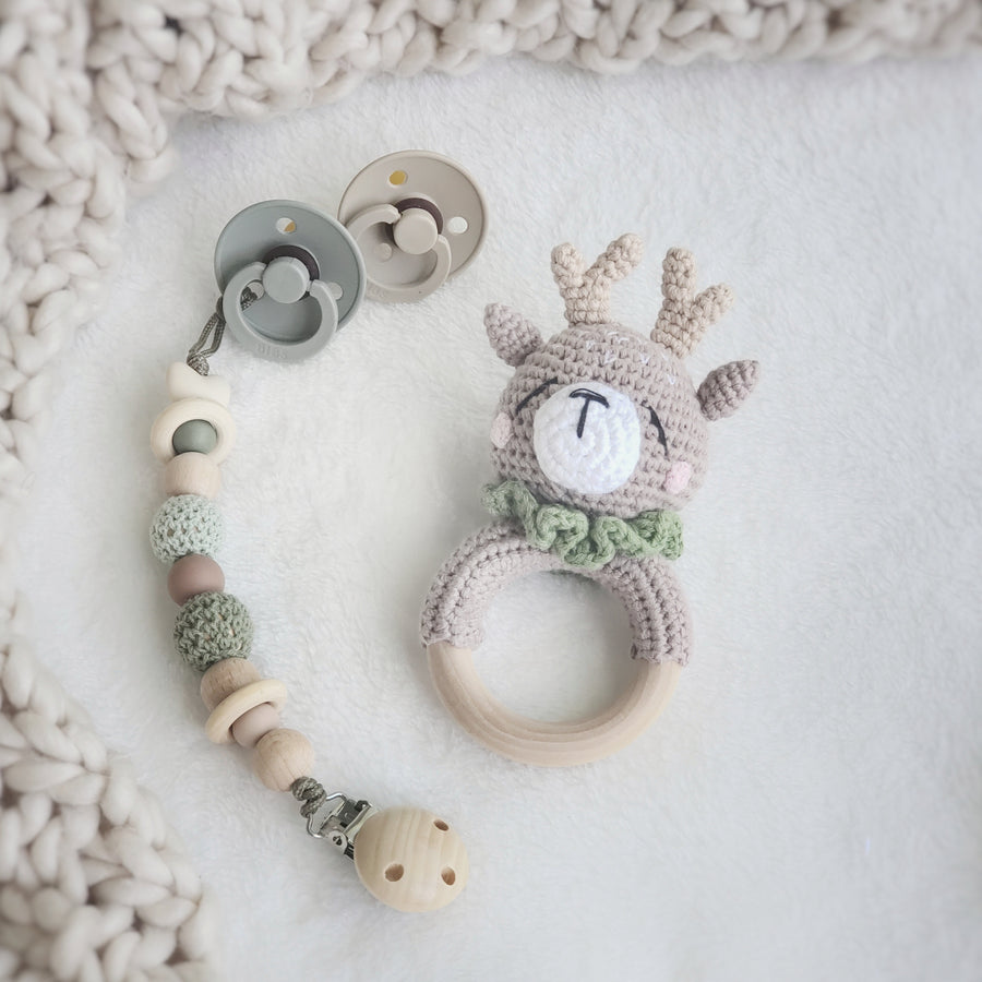 My Little Woodland Fawn Beechwood & Cotton Crochet Play Ring