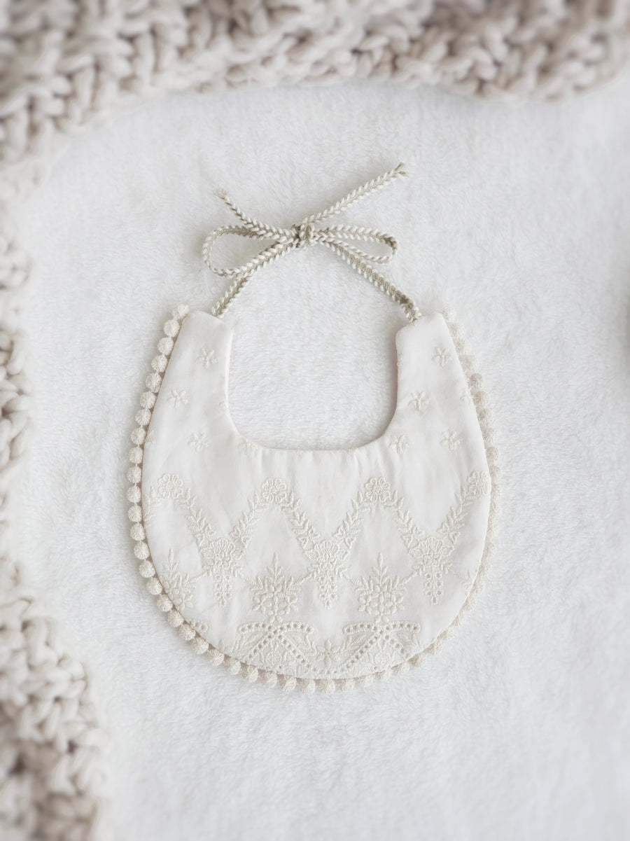 The Most Darling Embroidered Cotton Lace Reversible Bibs