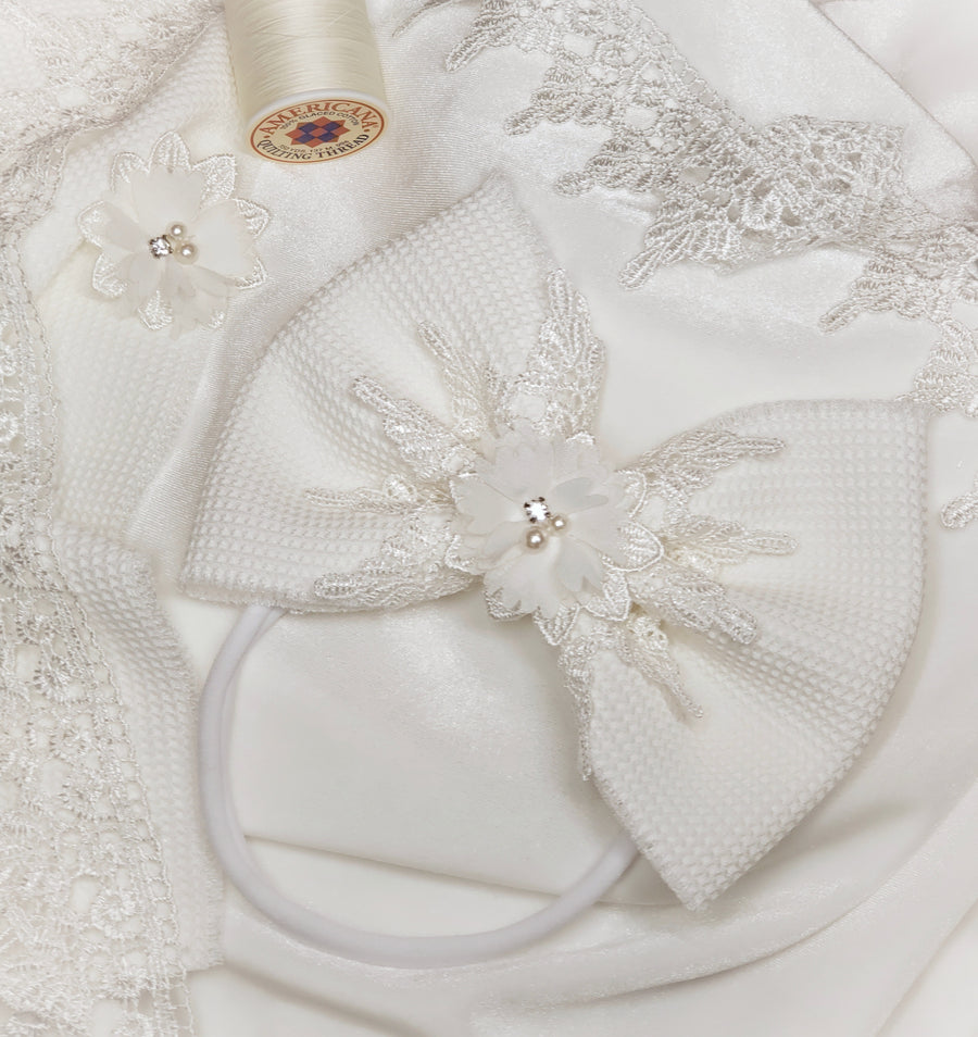 Oversized Ivory Bow with Lace, Diamond, & Pearl