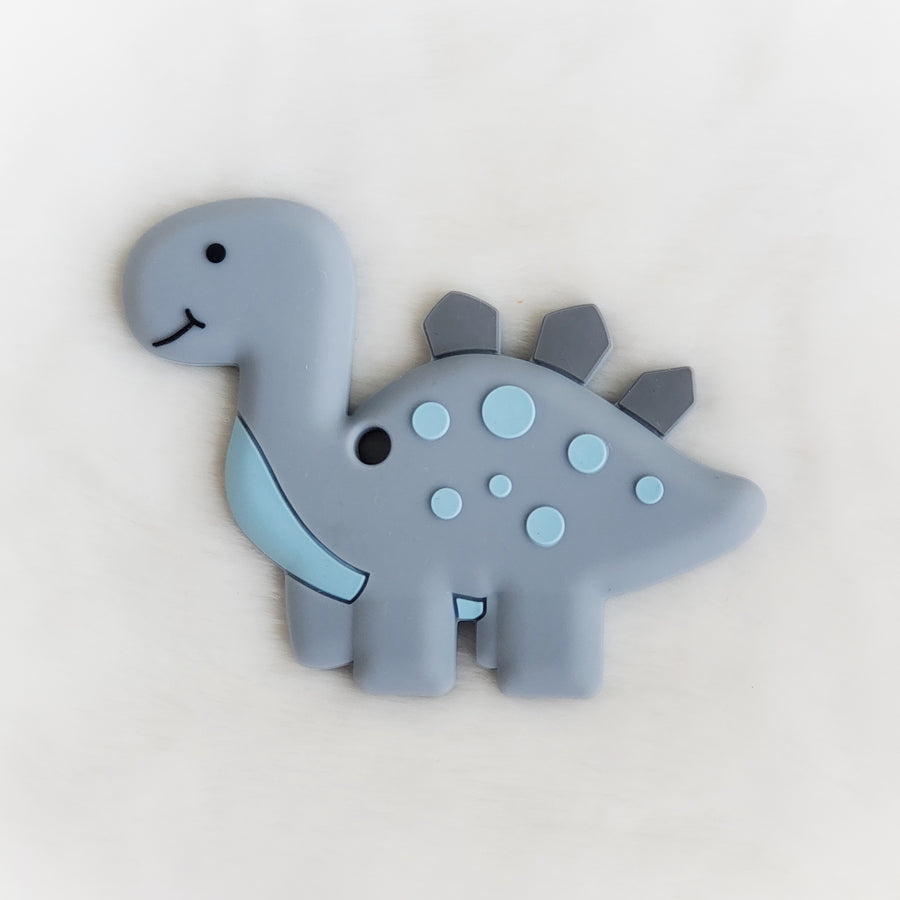 Dinosaur Silicone Teether in Gray & Blue