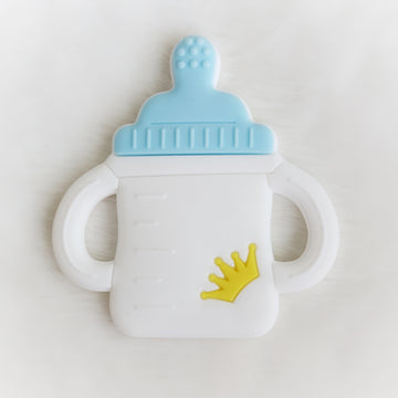 Milk Bottle Teether in White & Blue