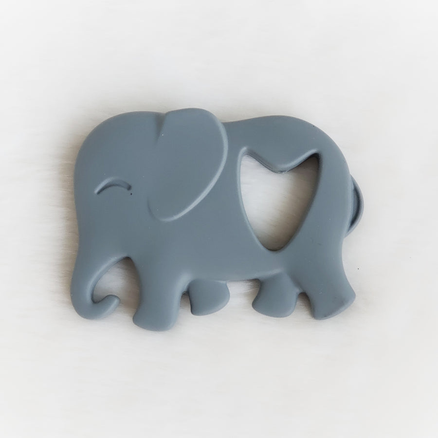 Cartoon Elephant Silicone Teether in Gray