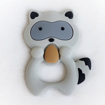 Wide Eyed Raccon Silicone Teether in Gray