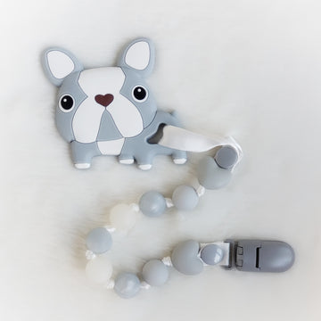 French Bulldog Silicone Teether & Clip