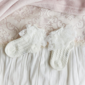 Sweet Little Lace Ankle Socks - Ivory Cream