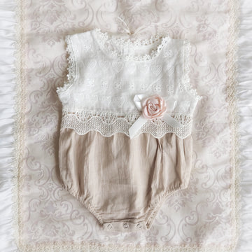 Lace & Muslin Romper in Off-White & Taupe