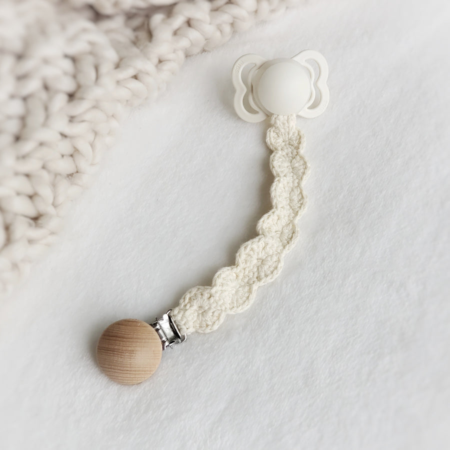 Natural Cotton Crochet Pacifier Clip with Rubber Attachment Ring