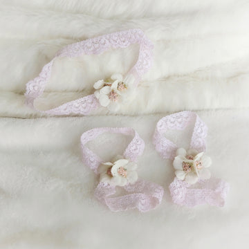 Sweet little Delicate Silk Floral Headband and Sandal Set - Baby Pink Lace