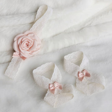 Ivory Floral Lace Headband with Light Blush Satin Rose & Barefoot Sandals Set