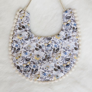 Blue Floral & Dot Cotton Reversible Bib