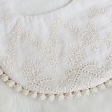 Embroidered Lace & Pale Pink Cotton Lace Reversible Bib