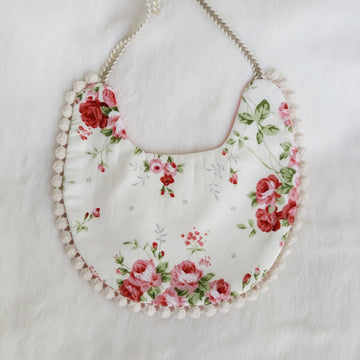 Floral & Pink Cotton Reversible Bib