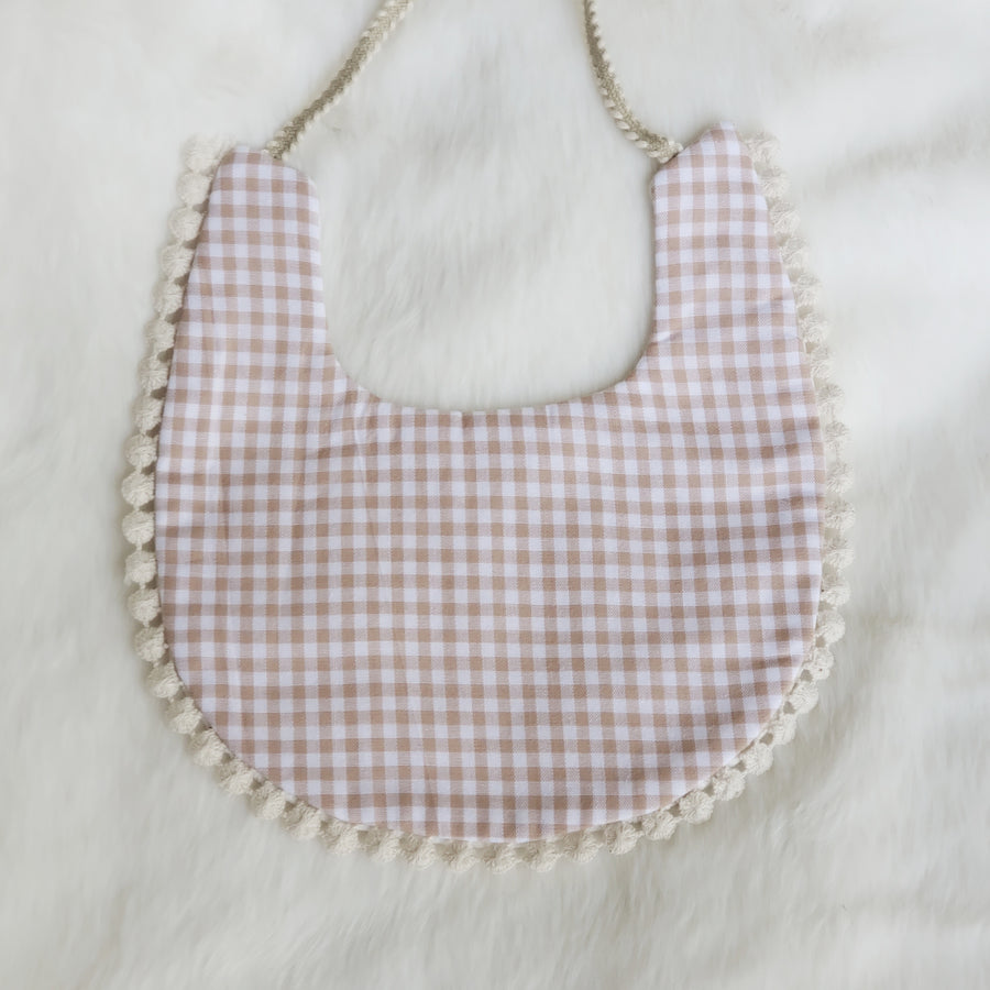 Embroidered Lace & Taupe Gingham Cotton Reversible Bib