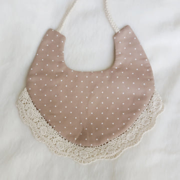 Brown Dotted Cotton Reversible Bib with Lace Trim