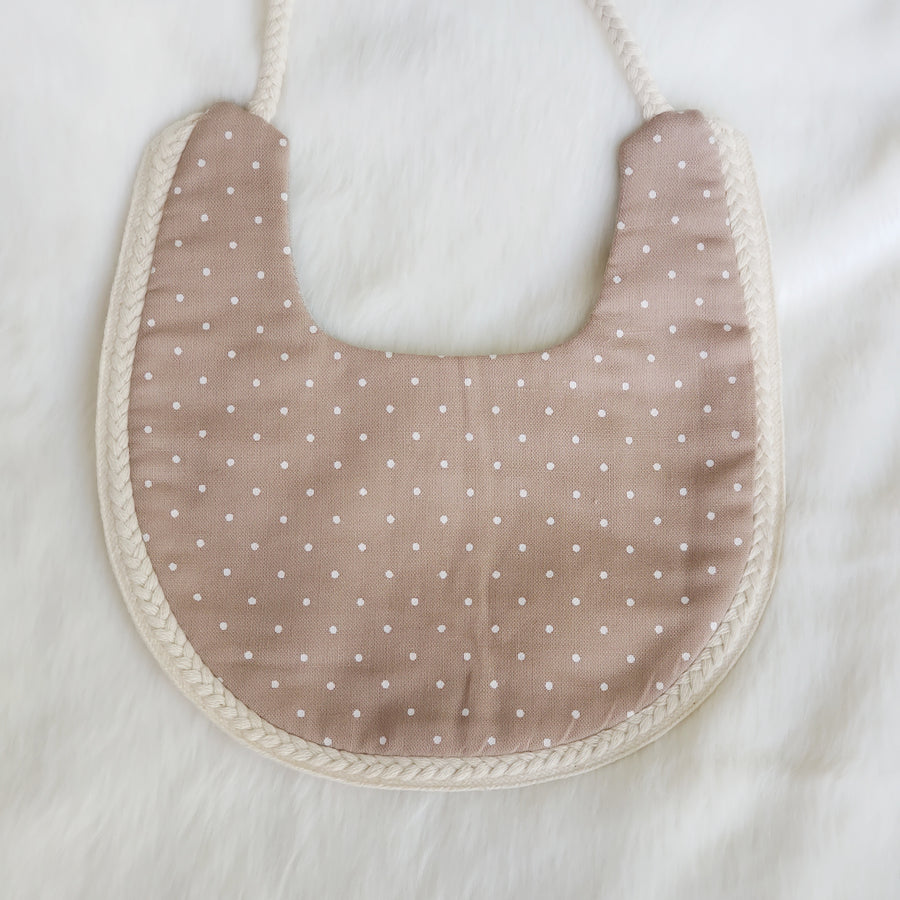 Sage Green and Brown Reversible Bib with Braided Cotton Trim