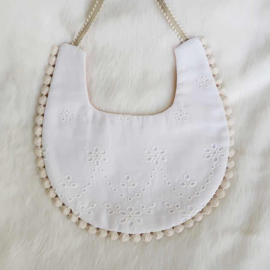 Embroidered White Lace & Dull Peach Cotton Reversible Bib