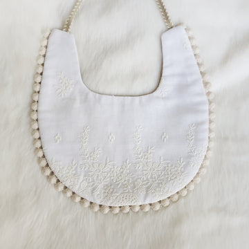 Embroidered Lace & Brown dot Cotton Reversible Bib