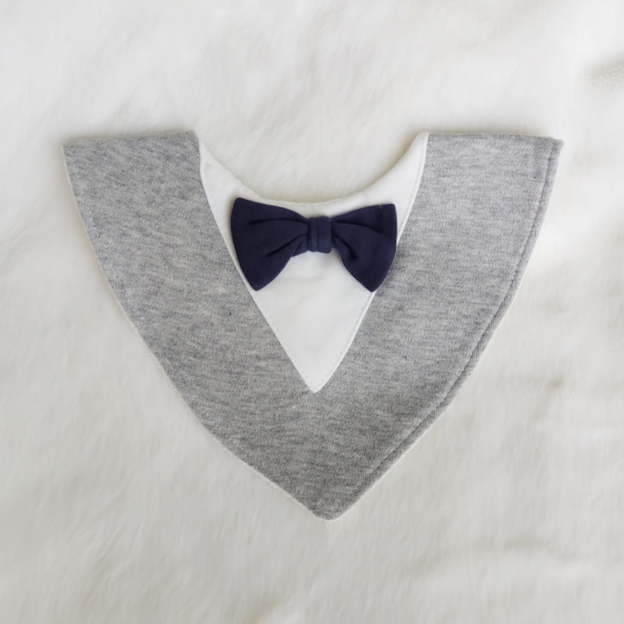 Little Gentleman Cotton Bib in Gray