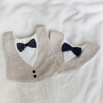 Little Gentleman Cotton Bib in Beige