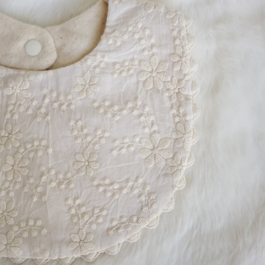 Vintage English Style Embroidered Natural Cotton Lace Bib