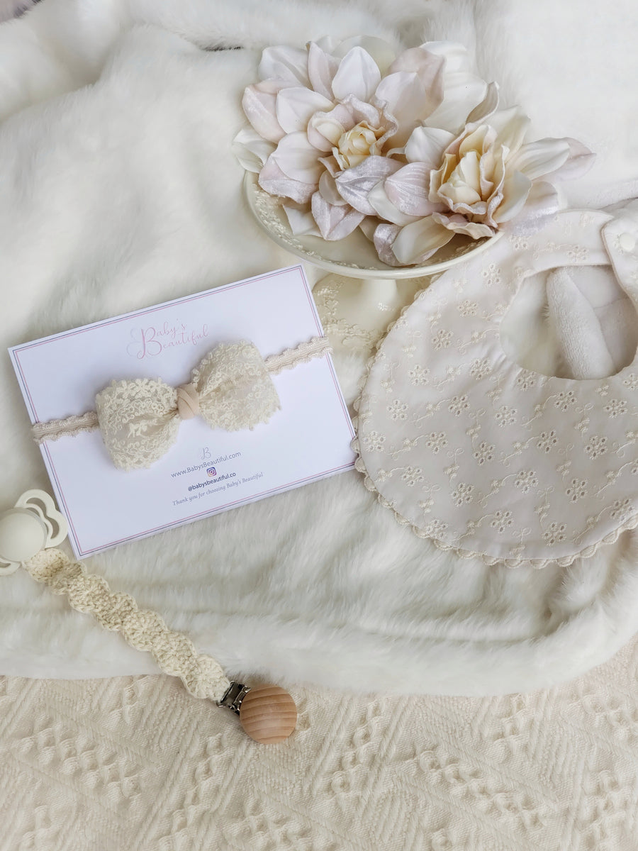Beautiful Vintage Embroidered Lace Bow Headband