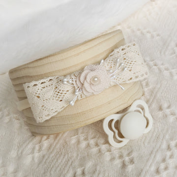 Natural Cotton Lace Bow Headband with Rose and Pearls